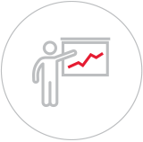 Illustration of a person giving a presentation with a chart graph