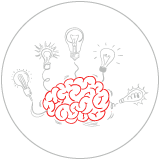 Illustration of a brain with light bulbs attached to it