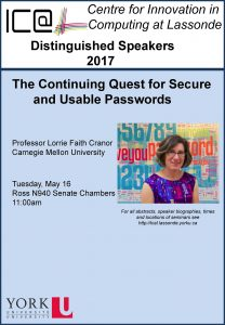 The Continuing Quest for Secure and Usable Passwords @ Ross N940 Senate Chambers