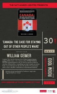 """Canada: The Case for Staying Out of Other People's Wars"" @ Room 1003, Ignat Kaneff Building"