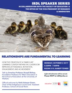 IRDL Speaker Series: Relationships are Fundamental to Learning @ 519 Kaneff Tower | Toronto | Ontario | Canada
