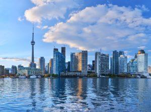 Panorama of Toronto skyline at sunset in Ontario, Canada